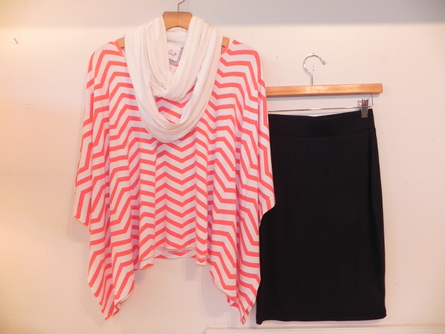 Yala Chevron Poncho and Pencil Skirt