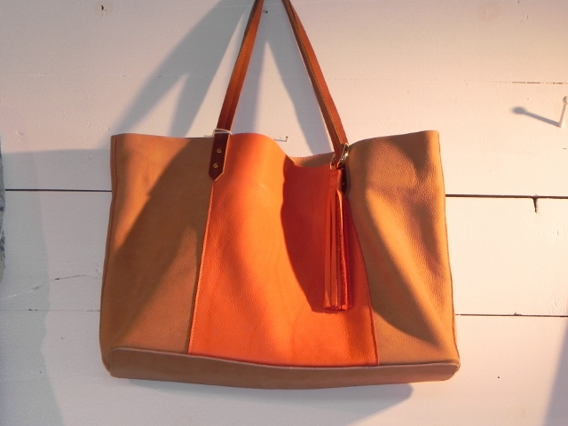 Gorjana Tan and Orange Leather Tote