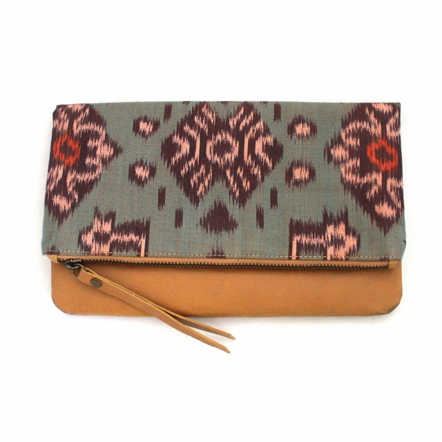Tiger Rose tan-foldover clutch