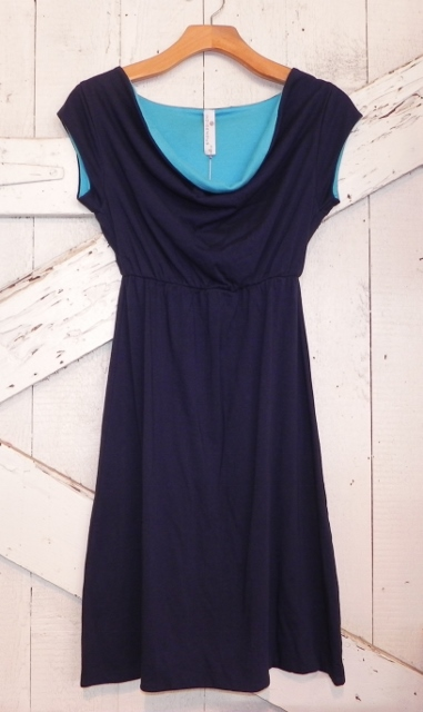 Indigenous Reversible Cowl Neck Dress-Blue