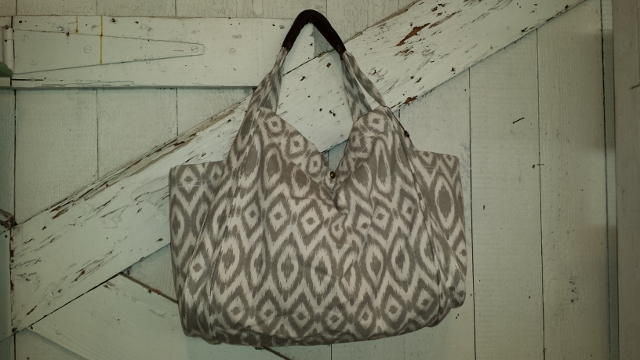 Bliss Gray Ikat Canvas Tote