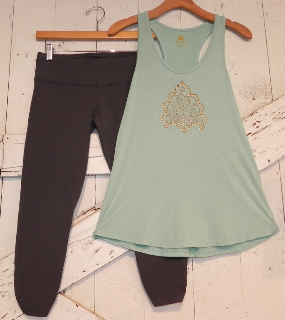 Lily Lotus Gray Legging and Mint Brass and Rhinestone Embellished Tunic Tank