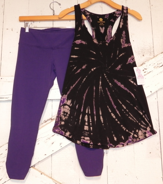 Lily Lotus Purple Legging and Black and Purple TieDye Tunic Tank